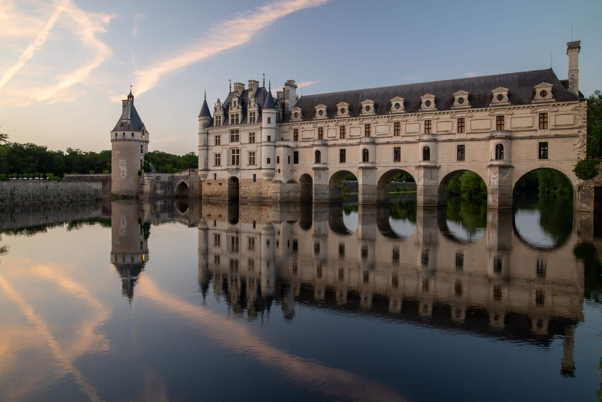 Chateau Chenonceau sunset, Loire Valley, France